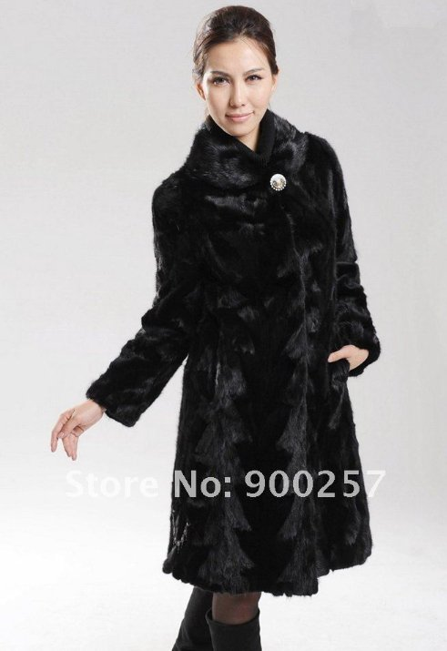 Genuine Real Black Pieced Long Mink Fur Coat M
