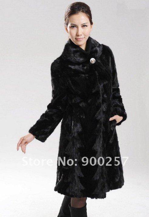 Genuine Real Black Pieced Long Mink Fur Coat L