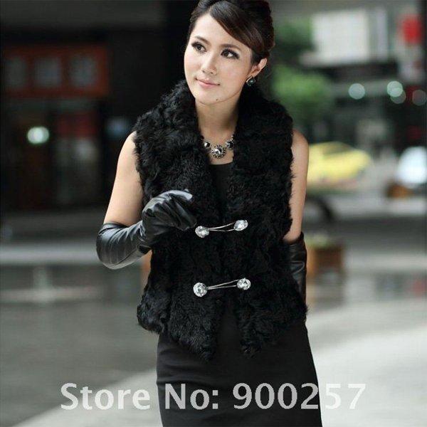 Unique Stylish Genuine Real Short Lambs Leather & Lambs Fur Waistcoat Vest, M