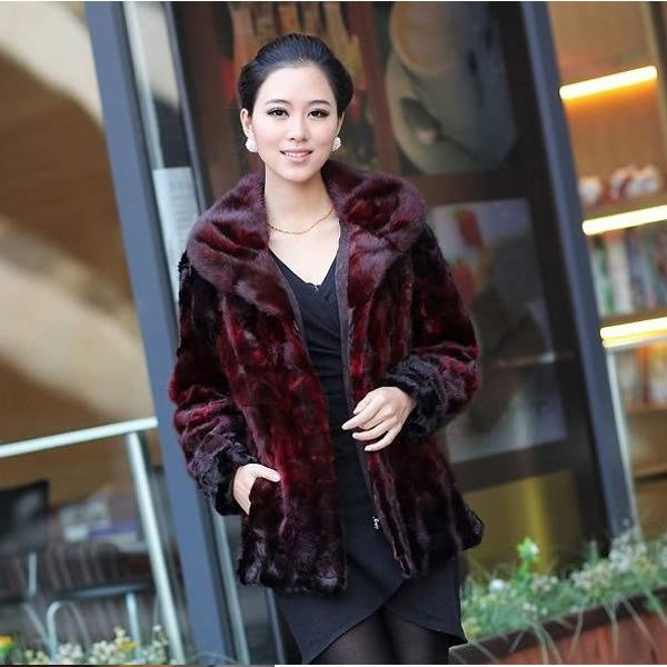 Top Qulity, Luxury, Genuine Real Mink Fur Coat / Jacket Red, L