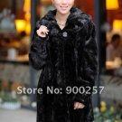 Top Qulity, Luxury, Genuine Real Hooded Pieced Mink Fur Coat