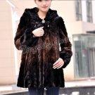 Top Qulity, Luxury, Genuine Real Hooded Mink Fur Coat Black/Brown