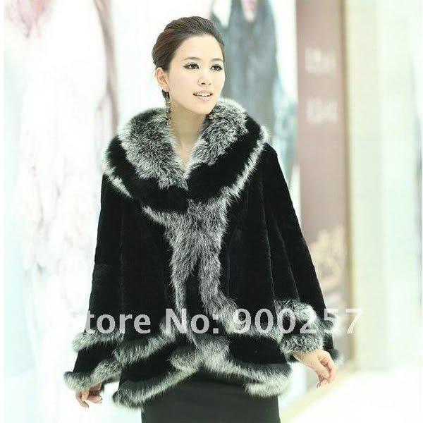 Stylish Rex Rabbit Fur Shawl/ Cape with Fox Fur Trims