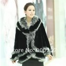 Stylish Rex Rabbit Fur Shawl/ Cape with Fox Fur Trims