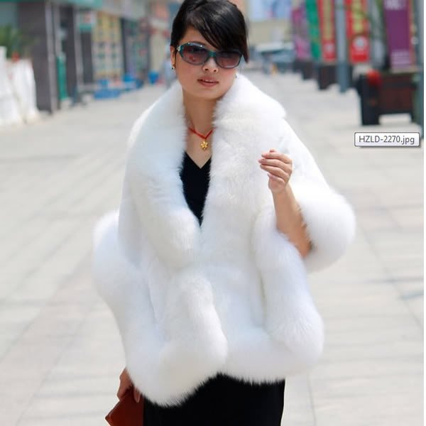 Luxuy Large Genuine Rex Rabbit Fur Shawl with Fox Trim, White
