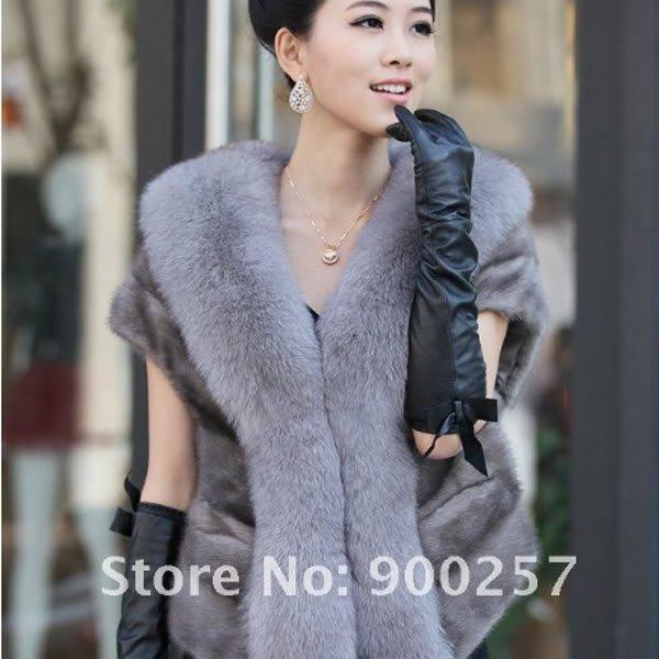 Luxuy Large Genuine REAL Mink Fur Shrug/Cape Blue-Grey