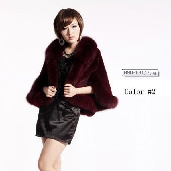 Luxury Genuine Sheared Rabbit Fur Shawl with Fox Trims Dark Red