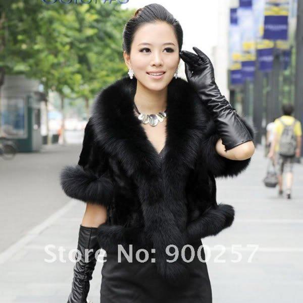 Luxurious!!Genuine REAL Patched Mink Fur Shrug/Cape, Black, M