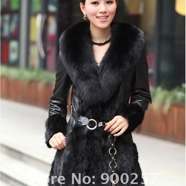Lamb Leather Coat, REAL Mink fur Trimming & Fox Collar, Black, M