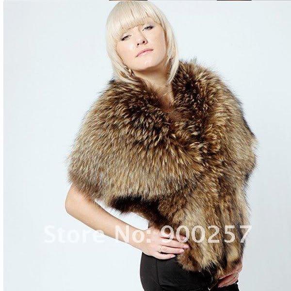 Genuine Whole Hide Real Racoon Fur Scarf/Shawl Luxury!