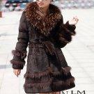 Genuine Real Rabbit Fur Coat with Raccoon Fur Collar, Brown, M