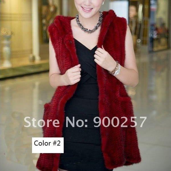 Genuine Knitted Hooded Mink Fur Long Vest Red