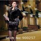 Genuine Real Patched/Pieced Mink Fur Jacket with Silver Fox Fur Trims, M