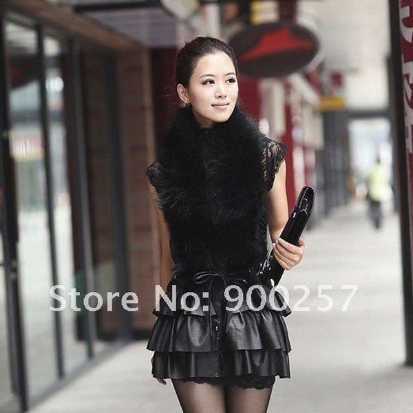 Cute Sexy REAL Leather minis skirt vest Racoon Trim, Black