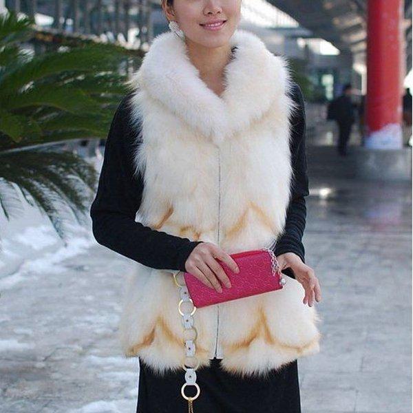 Beautiful Genuine Real Fox Fur Long Vest With Belt M