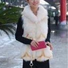 Beautiful Genuine Real Fox Fur Long Vest With Belt L