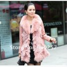 Lamb Leather Coat With REAL Fox fur Trimming & Fox Collar, Pink, L