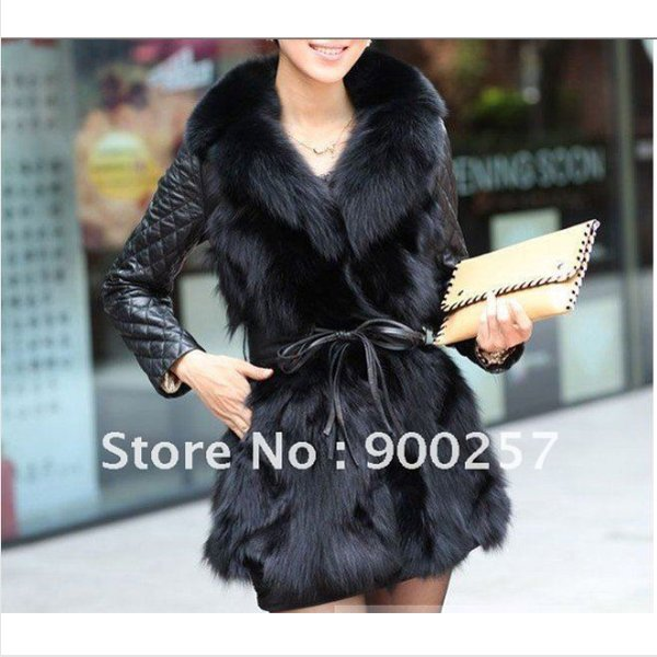 Lamb Leather Coat With REAL Fox fur Trimming & Fox Collar, Black,XXL