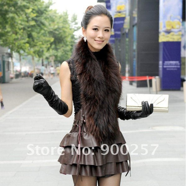Cute Sexy REAL Leather minis skirt vest Racoon Trim, Brown