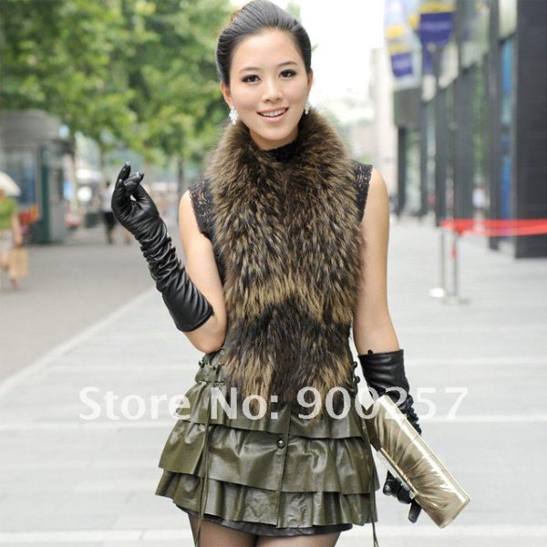 Cute Sexy REAL Leather minis skirt vest Racoon Trim, Olive Green