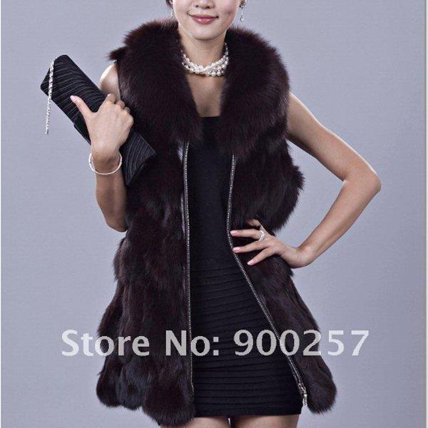Genuine Fox Fur Long Vest with Belt, Black, L