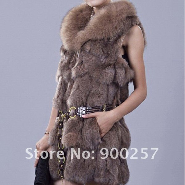 Genuine Fox Fur Long Vest with Belt, Brown, L