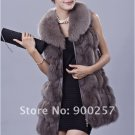 Genuine Fox Fur Long Vest with Belt, Grey, L