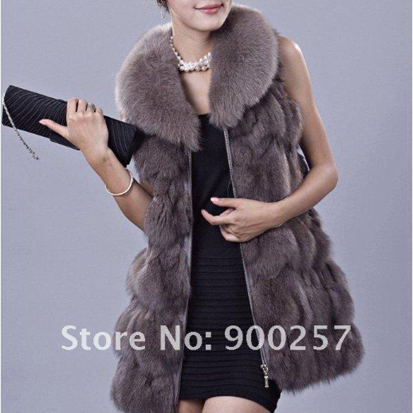 Genuine Fox Fur Long Vest with Belt, Grey, XL