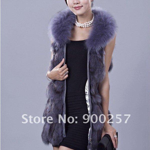 Genuine Fox Fur Long Vest with Belt, Blue-Grey, M
