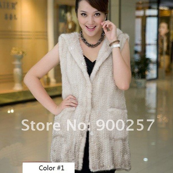 Genuine Knitted Hooded Mink Fur Long Vest, Cream