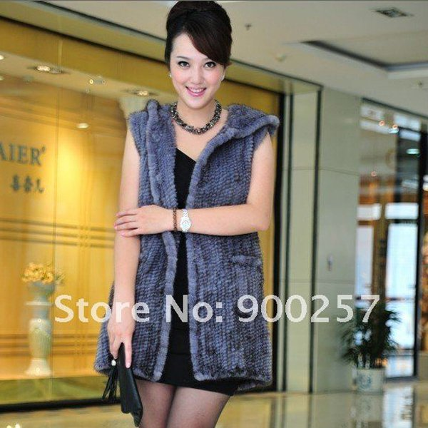 Genuine Knitted Hooded Mink Fur Long Vest, Blue-Grey
