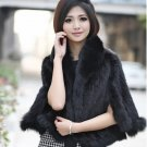 Genuine Knitted Mink Fur Shawl with Real Fox Fur Trims, Black