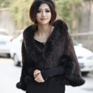Genuine Knitted Mink Fur Shawl with Real Fox Fur Trims, Brown