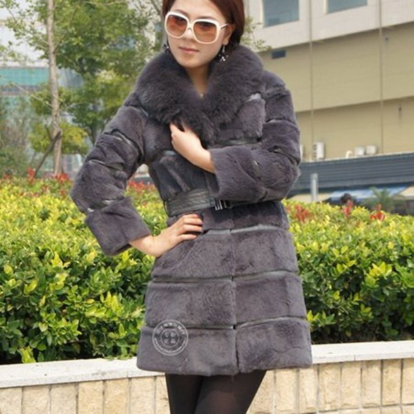 Genuine Real Rabbit Fur Coat with Fox Fur Collar, Grey, XXL