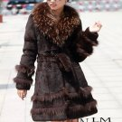 Genuine Real Rabbit Fur Coat with Raccoon Fur Collar Brown, L