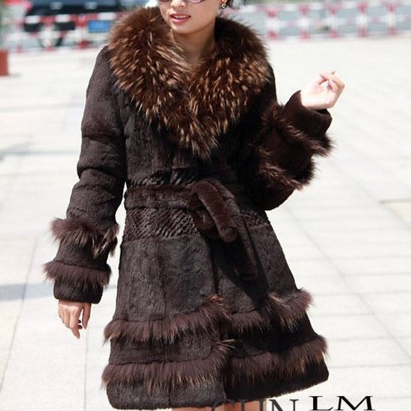 Genuine Real Rabbit Fur Coat with Raccoon Fur Collar Brown, XXL