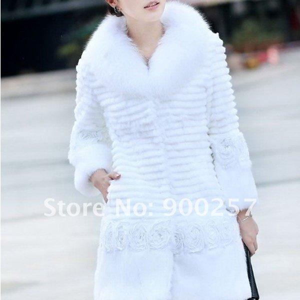 Genuine Real Rabbit Fur Coat with Satin Rose Decoration, White, XL