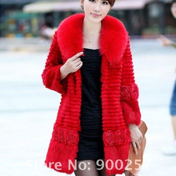 Genuine Real Rabbit Fur Coat with Satin Rose Decoration, Red, L