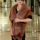 Genuine Whole Hide Real Fox Fur Scarf/Shawl Brown
