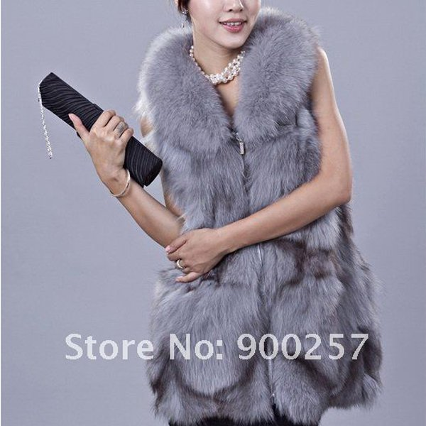 Gorgeous Genuine REAL Fox Fur Long Vest, Light Blue-Grey, XL
