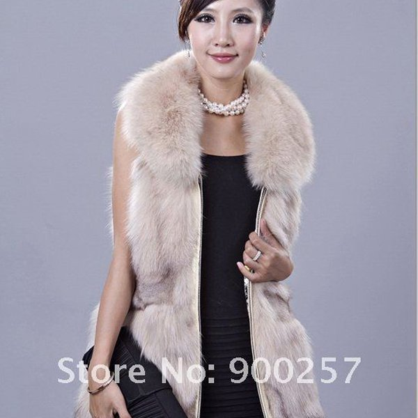 Gorgeous Genuine REAL Fox Fur Long Vest, Cream, XL