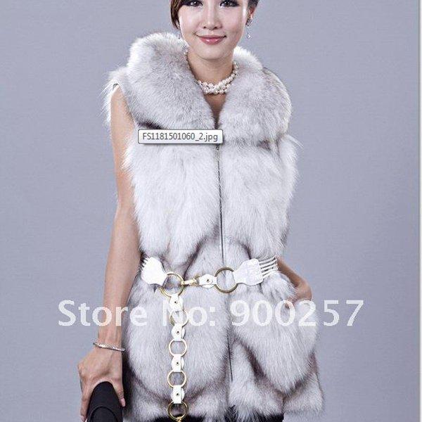 Gorgeous Genuine REAL Fox Fur Long Vest, Pale Grey, L