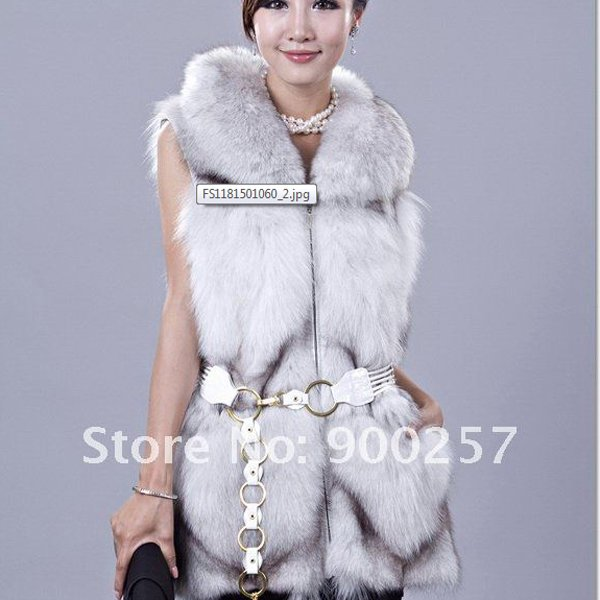 Gorgeous Genuine REAL Fox Fur Long Vest, Pale Grey, XL
