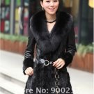 Lamb Leather Coat, REAL Mink fur Trimming & Fox Collar, Black, L