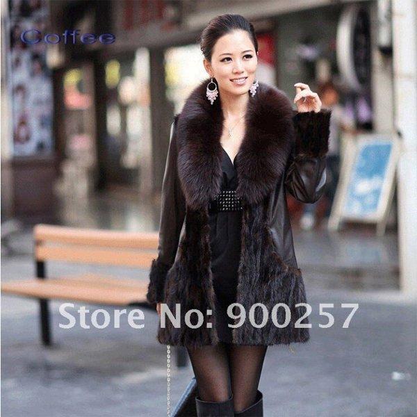 Lamb Leather Coat, REAL Mink fur Trimming & Fox Collar, Brown, XXL
