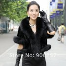 Luxurious!!Genuine REAL Patched Mink Fur Shrug/Cape, Black, XL
