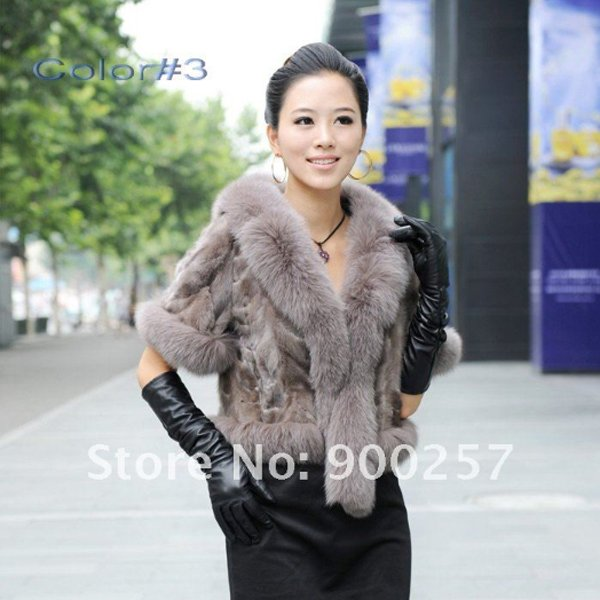 Luxurious!!Genuine REAL Patched Mink Fur Shrug/Cape, Grey,XXL