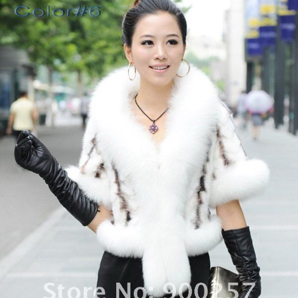 Luxurious!!Genuine REAL Patched Mink Fur Shrug/Cape, White, M