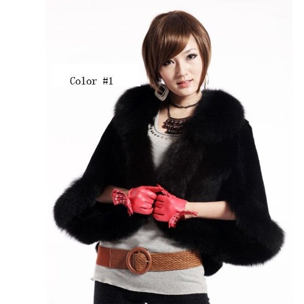Luxury Genuine Sheared Rabbit Fur Shawl with Fox Trims Black