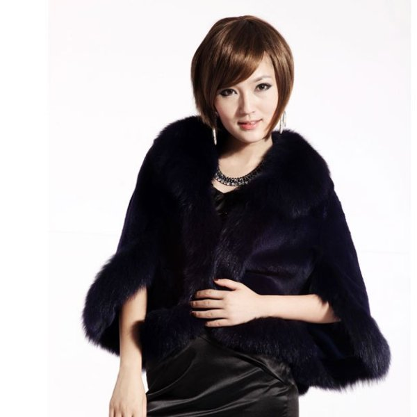 Luxury Genuine Sheared Rabbit Fur Shawl with Fox Trims Navy